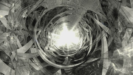 Black and white tunnel with fractal shapes
