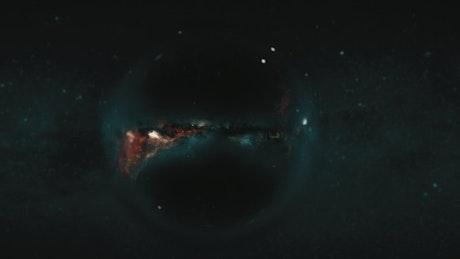 Black hole near a nebula
