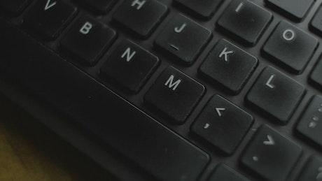 Black keyboard close up