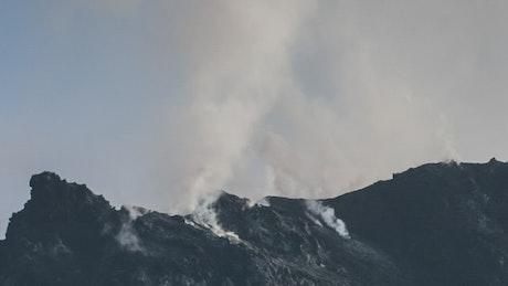 Black lava getting cold