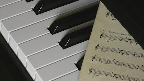 Blood drops on piano sheet music