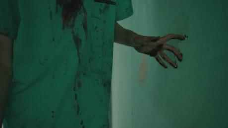 Bloody zombie walking