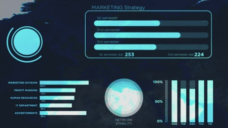 Blue HUD with animated marketing infographics