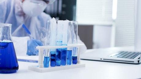 Blue liquid in a vial
