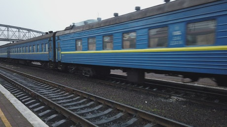 Blue train carriages
