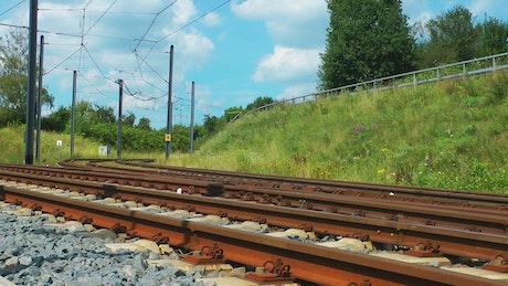 Blue train passing on railways