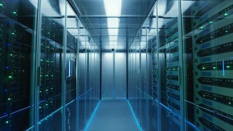 Bluish data center hallway