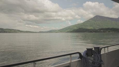 Boat sailing along the river