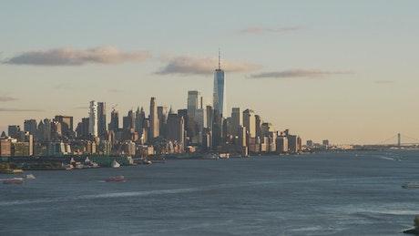 Boat traffic by New York