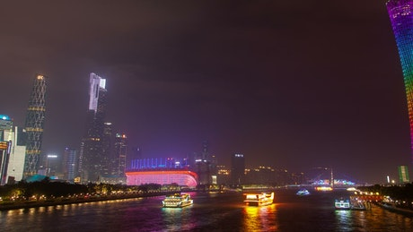 Boats and ferries traffic in Guangzhou river