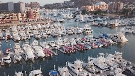 Boats and small yachts at a pier