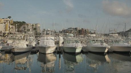 Boats docked at port