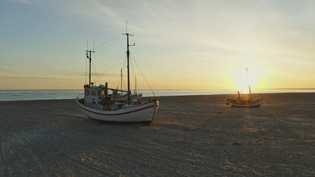Boats during low tide