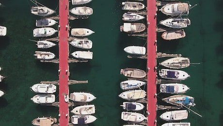 Boats in a harbor from above