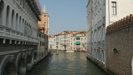 Boats sailing in Venice canals, static high shot