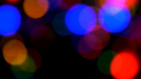 Bokeh of flashing lights at night
