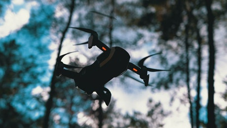 Bottom view of a drone hovering in the woods