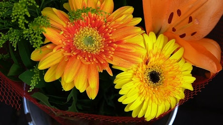 Bouquet of orange and yellow flowers, close up