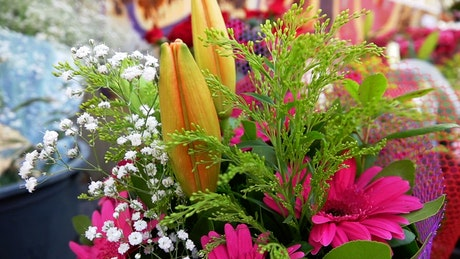 Bouquets of assorted flowers in a flower shop