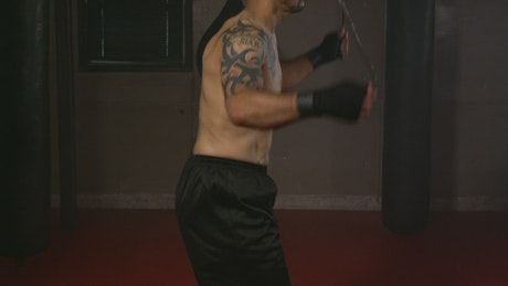 Boxer using a jumping rope