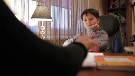 Boy receiving a good grade
