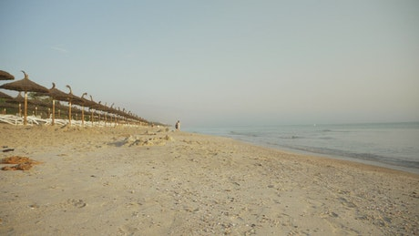 Boy running on the sand