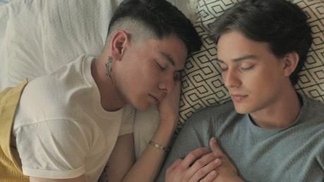 Boyfriends taking a nap