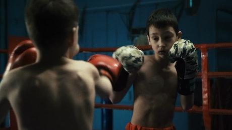 Boys training box on the ring
