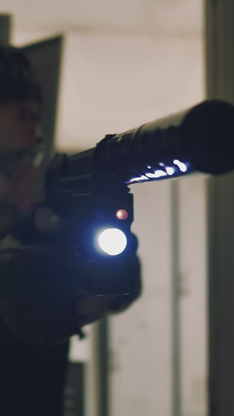 Brave mercenary aiming his gun