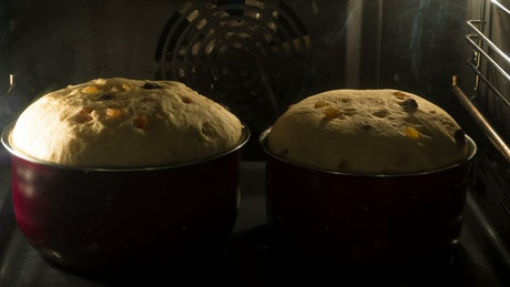 Bread growing inside the oven