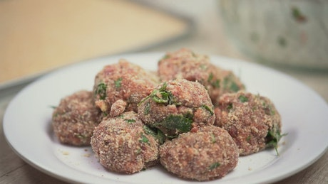 Breaded meat balls