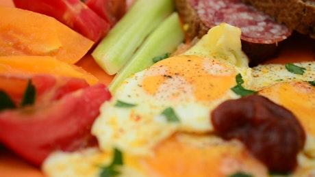 Breakfast platter with seasoning