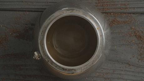 Brewing hot coffee
