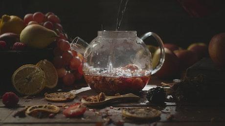 Brewing hot fruit tea