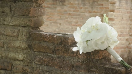 Bridal bouquet in an abandoned construction