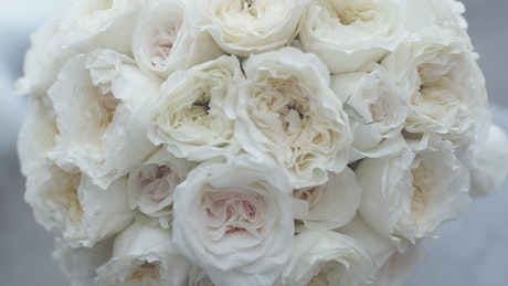 Bridal bouquet of white flowers in a close up shot