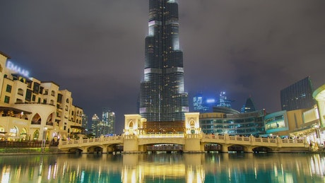 Bridge and artificial lake below the Burj Khalifa