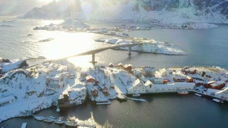 Bridge connecting snowing villages