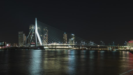Bridge illuminated against the night sky