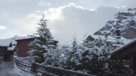 Bridge in a small snowy town