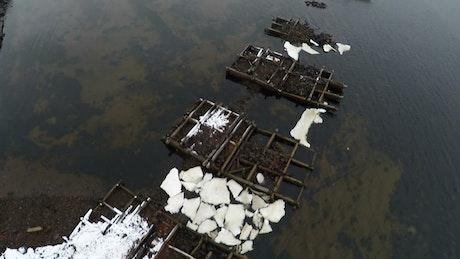Bridge ruins across the ocean