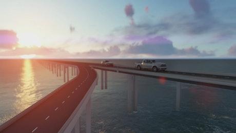 Bridge traffic over the sea, 3D