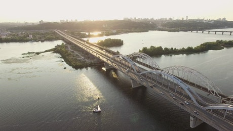 Bridge with traffic in the sunset