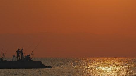 Bright orange evening across the ocean