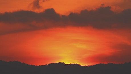 Bright orange sky at sunrise
