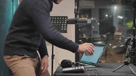 Broadcaster prepares to record program