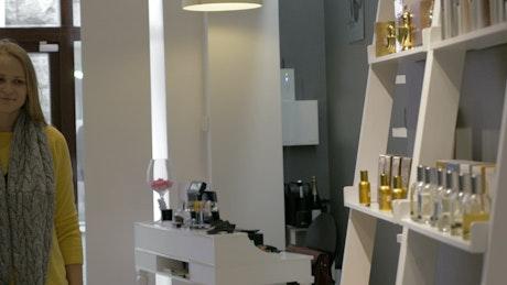 Browsing a perfume shop display