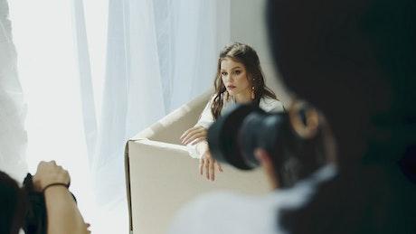 Brunette Instagram model poses for photoshoot
