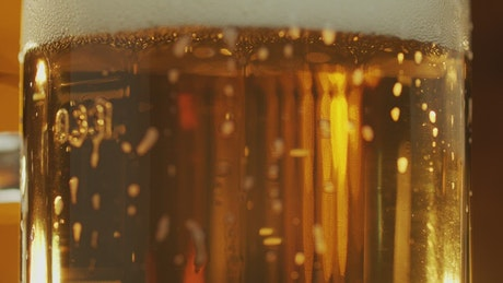 Bubbles rising in a beer glass