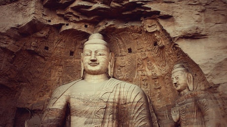 Buddha carved into a hill